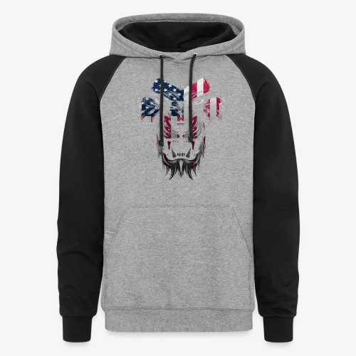 American Flag Lion Shirt - Colorblock Hoodie