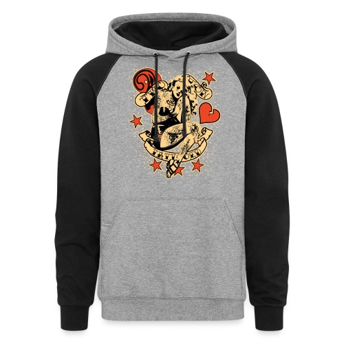 Screwed & tattooed Pin Up Zombie - Colorblock Hoodie