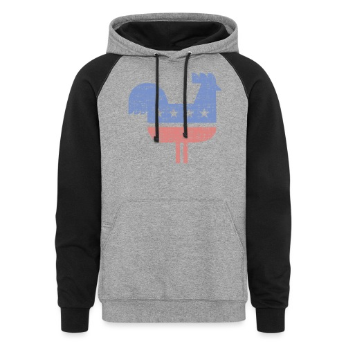 chicken party distressed - Colorblock Hoodie