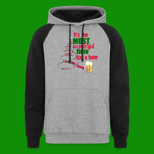 Most Wonderful Time For A Beer - Unisex Colorblock Hoodie