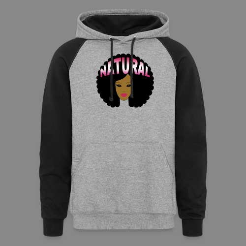 Natural Afro (Pink) - Unisex Colorblock Hoodie