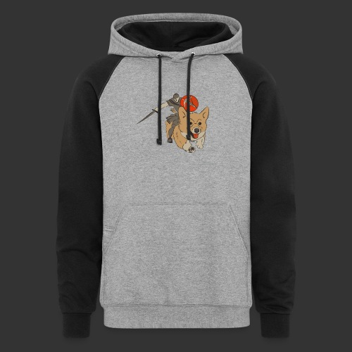 A Corgi Knight charges into battle - Colorblock Hoodie