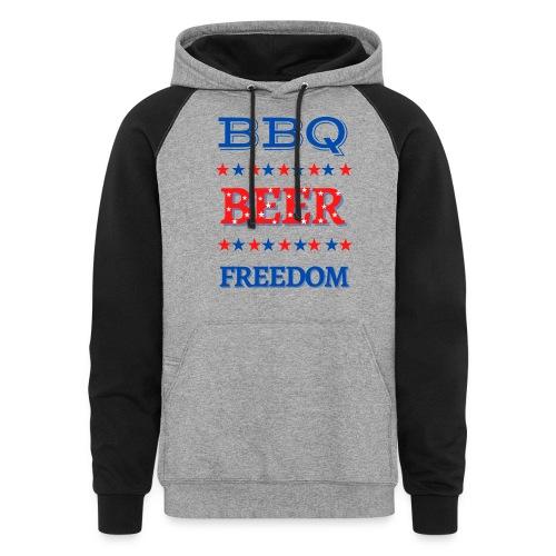 BBQ BEER FREEDOM - Unisex Colorblock Hoodie