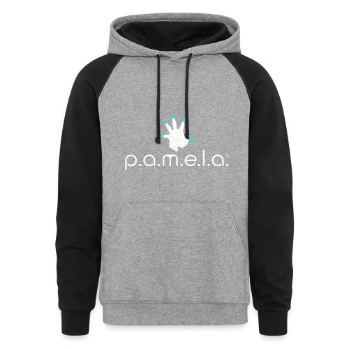 P.A.M.E.L.A. Logo White - Unisex Colorblock Hoodie