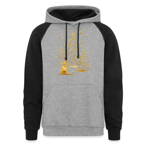 Gold Snowman and Christmas Tree - Colorblock Hoodie