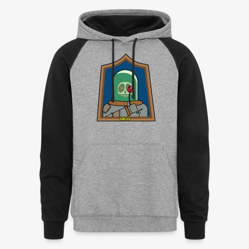 RIP Junior Sad Surreal Steampunk Skull with flower - Unisex Colorblock Hoodie