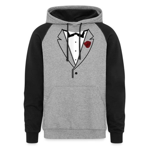 Tuxedo w/Black Lined Lapel - Unisex Colorblock Hoodie