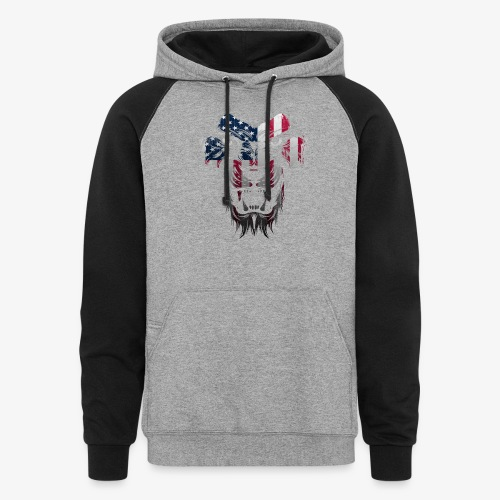 American Flag Lion Shirt - Colorblock Hoodie