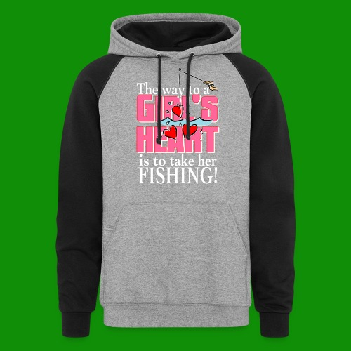 Fishing - Way to a Girl's Heart - Unisex Colorblock Hoodie