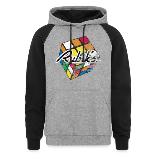 Rubik's Cube Distressed and Faded - Unisex Colorblock Hoodie