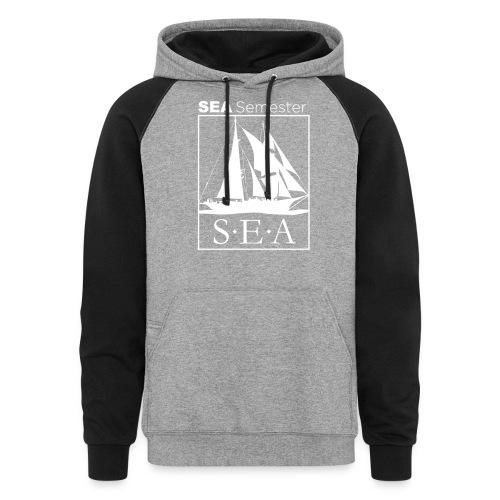 SEA_logo_WHITE_eps - Unisex Colorblock Hoodie