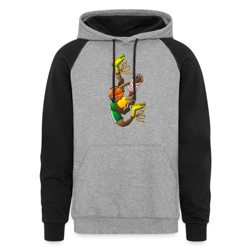 Acrobatic basketball player performing a high jump - Colorblock Hoodie