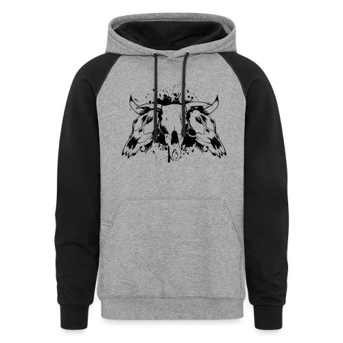 skull bull 3 - Unisex Colorblock Hoodie