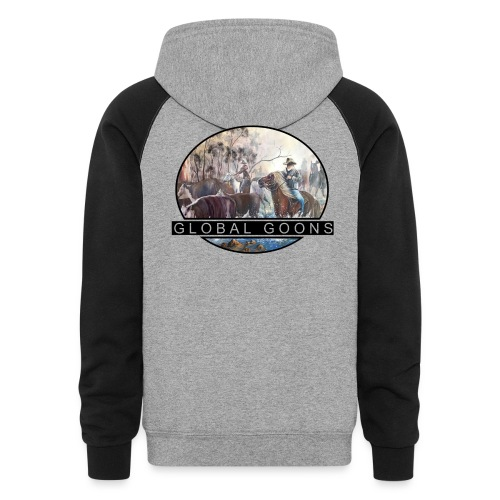 G L O B A L horses in the back - Colorblock Hoodie