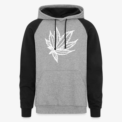 white leaf w/myceliaX.com logo - Colorblock Hoodie