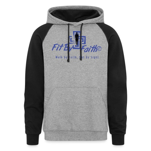 FitbyFaith back png - Unisex Colorblock Hoodie