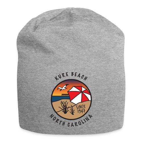 Kure Beach Sunrise-Black Lettering-Front Only - Jersey Beanie