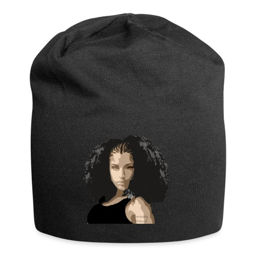 Sabrina in black tee - Jersey Beanie