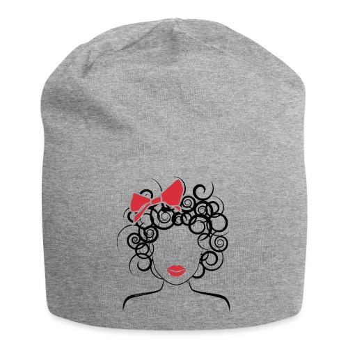 Curly Girl with Red Bow_Global Couture_logo T-Shir - Jersey Beanie
