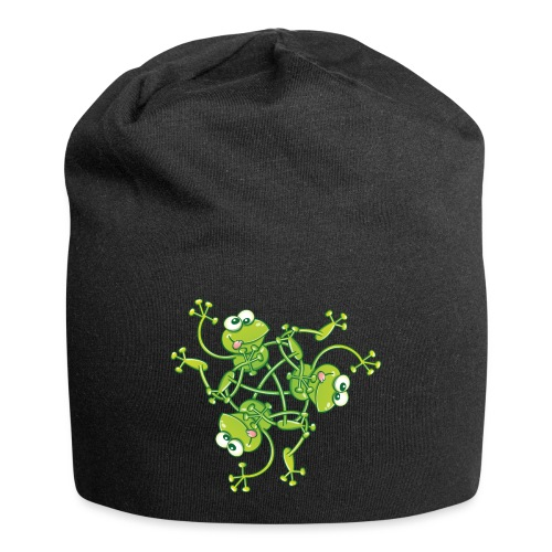 Frogs having fun when rotating in a pattern design - Jersey Beanie