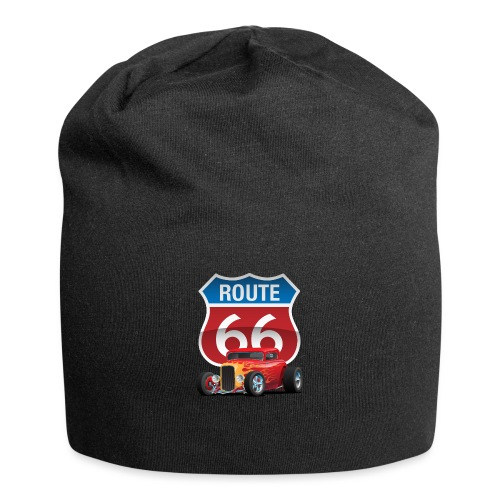 Route 66 Sign with Classic American Red Hotrod - Jersey Beanie