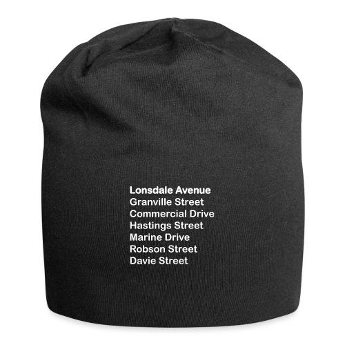 Street Names White Text - Jersey Beanie