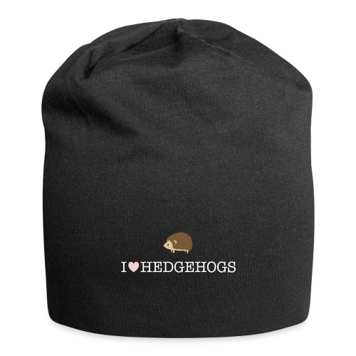 I Love Hedgehogs with Hedgehog Illustration - Jersey Beanie