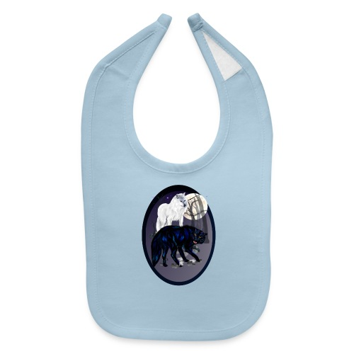 Two Wolves-oval - Baby Bib