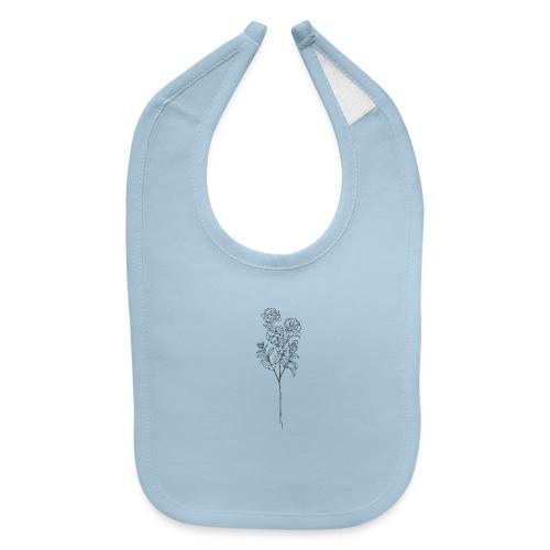 Minimal Floral Line Art Print - Baby Bib