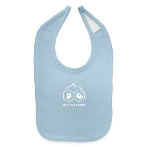 Pikes Peak Gamers Logo (Transparent White) - Baby Bib