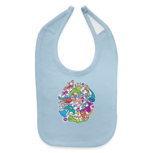 Summer swimming with weird dangerous sea creatures - Baby Bib