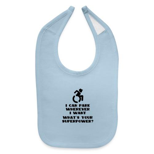Superpower in wheelchair, for wheelchair users - Baby Bib