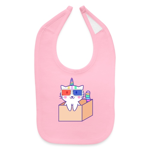 Unicorn cat with 3D glasses doing Vision Therapy! - Baby Bib
