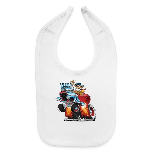 Highboy Hot Rod Race Car Cartoon - Baby Bib