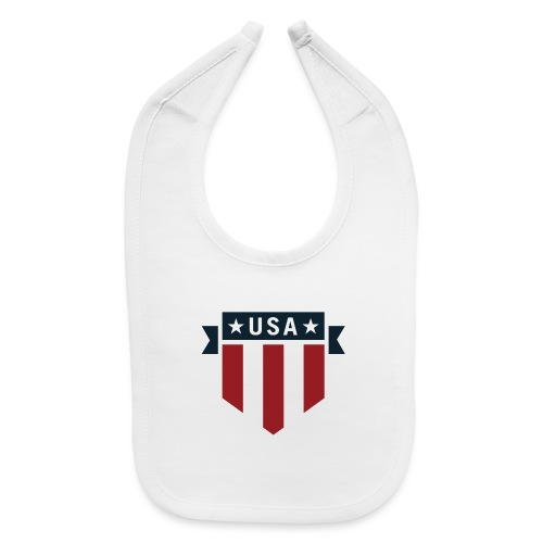 USA Pride Red White and Blue Patriotic Shield - Baby Bib