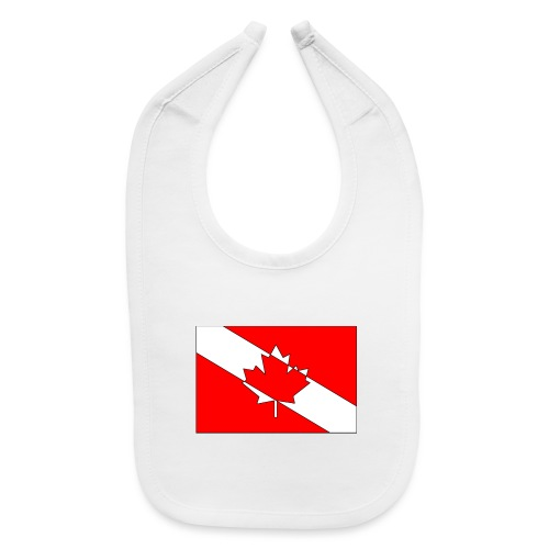 Canadian Diver Flag Red, White and Black Outline - Baby Bib