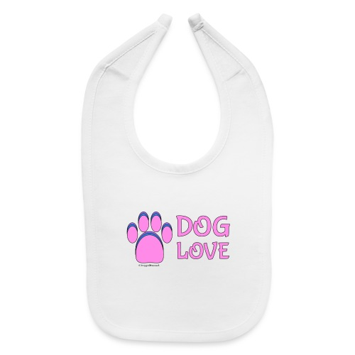 Pink Dog paw print Dog Love - Baby Bib