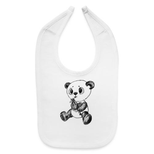 Panda bear black scribblesirii - Baby Bib