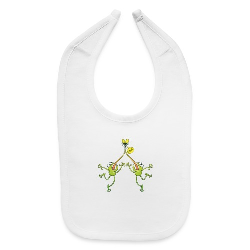 Two green frogs fighting to eat an unlucky fly - Baby Bib