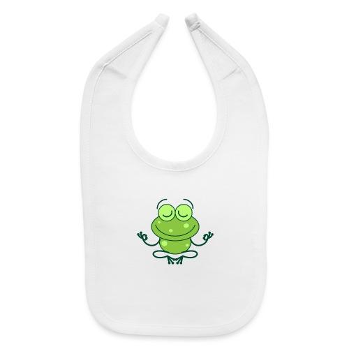 Green frog deeply submerged in joyful meditation - Baby Bib