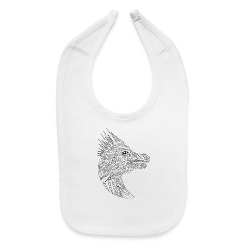 black art deco dragon head - Baby Bib