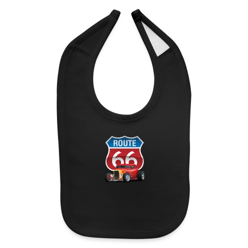 Route 66 Sign with Classic American Red Hotrod - Baby Bib