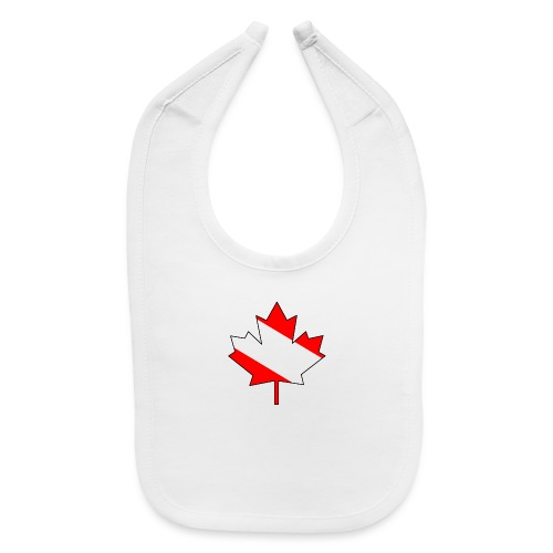 Maple Leaf with white infill and outline - Baby Bib
