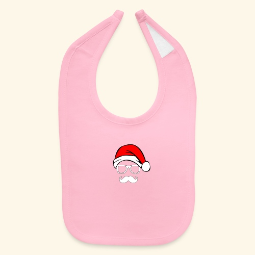 Santa with Geek and Mustache - Baby Bib