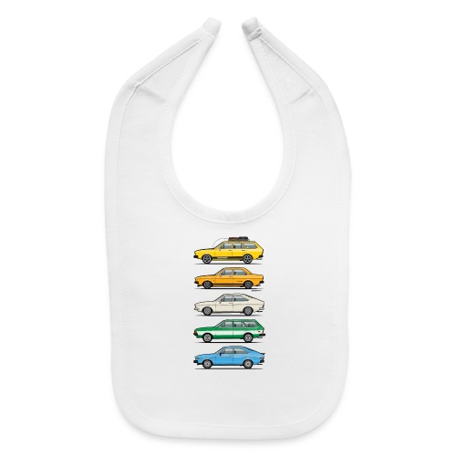 Stack of VAG B1 VDubs and Four Rings - Baby Bib