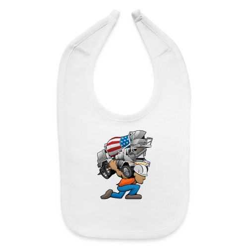 Cement Truck Mixer Cartoon - Baby Bib