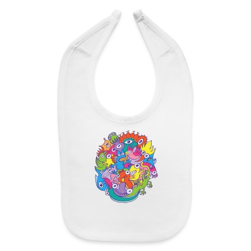 Colorful funny monsters parade in doodle art style - Baby Bib