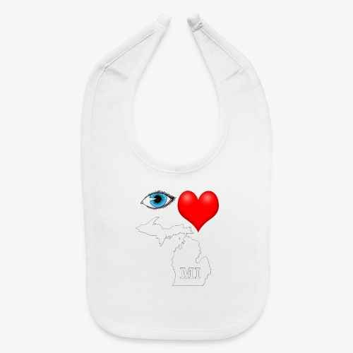 I Love Michigan, Eye Heart Michigan - Baby Bib
