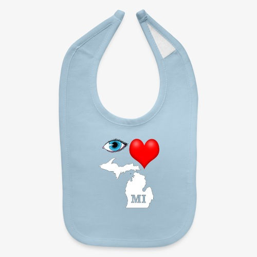 I Love Michigan, Eye Heart Michigan - Baby Bib