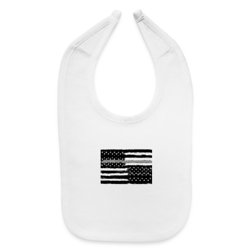 Grey Line American Flag - Baby Bib